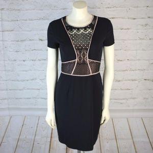 BCBGMAXAZRIA || Libi Black Lace Peplum Dress